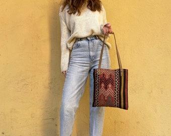 Handmade Bag, Kilim Bag, Vintage Bag, Tote Bag, Boho Tote Bag, Shoulder Bag, Leather Bag No733