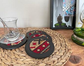 Turkish kilim leather coasters, kilim coasters, vintage kilim coasters, handmade kilim leather coaster No46