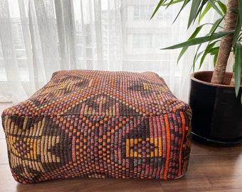 "Handmade Vintage Pillow Anatolian Decorative Wool Ethnic Kilim Pouf 24""x24""x10"" No1031"