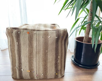"Handmade Vintage Pouf Anatolian Decorative Natural Wool Ecofriendly Kilim Pouf 18""x18""x18"" No ID1032"