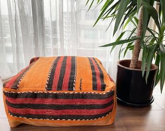 "Handmade Vintage Pillow Anatolian Decorative Wool Ethnic Kilim Pouf 24""x24""x10"" No1030"