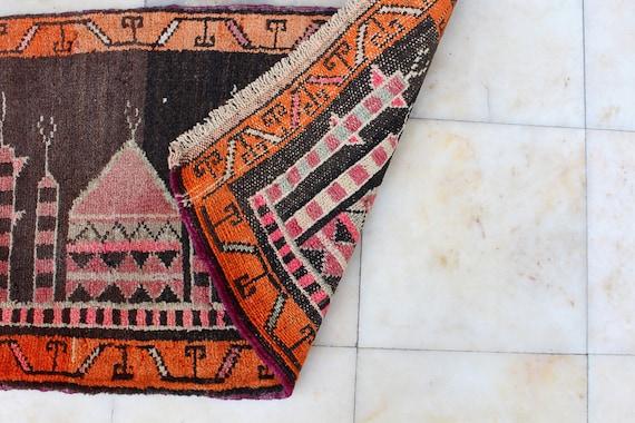 Handmade Turkish Vintage Small Rug Carpet 0.79 x 0.50 cm Bathroom Mat No637 Door Mat 31 x 20