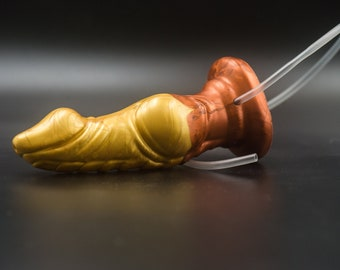 Custom Dildo Silicone Curse 19 cm Length 4.5 cm with Cumtube and Suction Cup