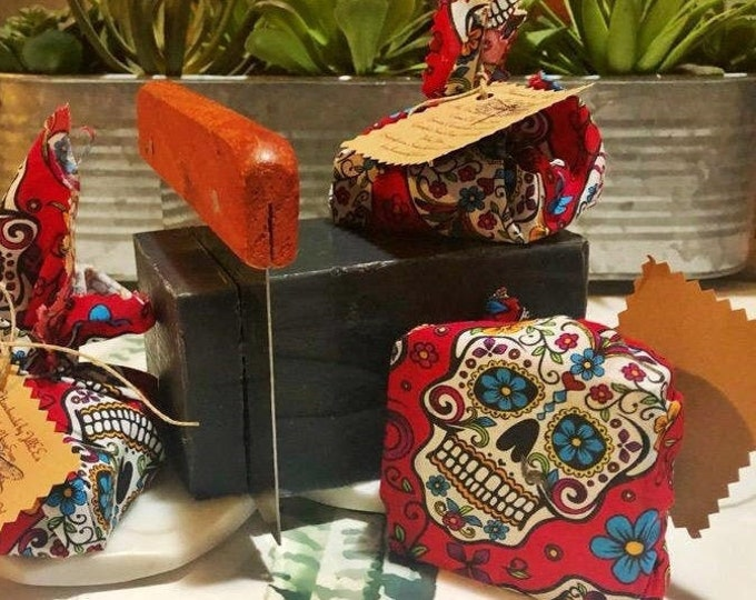 Day of Dead wrapped Charcoal soap
