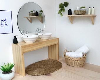 Moderne Puppenhaus Doppelte Badezimmer Eitelkeit In Hellem Holz Oder Weiß  Mit Runden Waschbecken Oder Quadratische Waschbecken