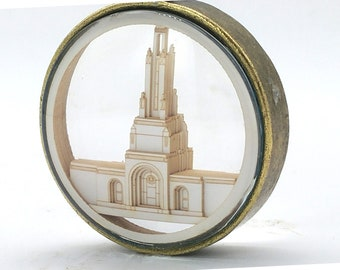 Redlands Temple Ornament - Church of Jesus Christ Christmas ornament - wedding -  missionary - baptism - Glass and Lasercut paper