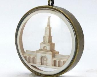 Sacramento Temple Ornament - Church of Jesus Christ Christmas ornament - wedding -  missionary - baptism - Glass and Lasercut paper
