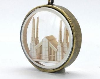 Las Vegas Temple Ornament - Church of Jesus Christ Christmas ornament - wedding -  missionary - baptism - Glass and Lasercut paper