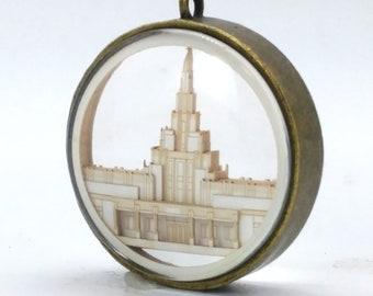 Phoenix Temple Ornament - Church of Jesus Christ Christmas ornament - wedding -  missionary - baptism - Glass and Lasercut paper