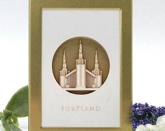 Tiny Portland LDS Temple 2x3 laser cut desktop art - LDS christmas gift - LDS wedding - lds missionary - lds baptism