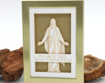 Tiny Christus - Spanish 2x3 laser cut desktop art - LDS christmas gift - LDS wedding - lds missionary - lds baptism