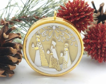 Tiny Gold Three Wise Men Ornament - Glass and lasercut paper - Christmas ornament - Wise Men ornament - Nativity ornament