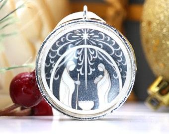 Tiny Silver Nativity Ornament - Glass and Lasercut paper - Christmas ornament - Holy Family ornament - Nativity ornament