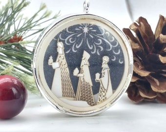 Tiny Silver Three Wise Men Ornament - Glass and Lasercut paper - Christmas ornament - Three Wise Men ornament - Nativity ornament