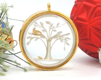 Tiny Gold Partridge in a Pear Tree Ornament - Glass and Lasercut paper - Christmas ornament - Twelve Days of Christmas ornament