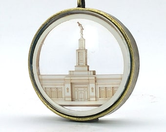 Raleigh Temple Ornament - Church of Jesus Christ Christmas ornament - wedding -  missionary - baptism - Glass and Lasercut paper