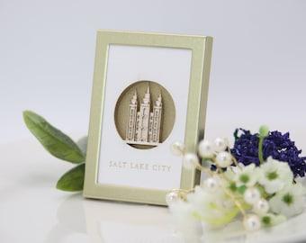 Tiny Salt Lake LDS Temple 2x3 laser cut desktop art - LDS christmas gift - LDS wedding - lds missionary - lds baptism