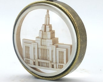 Saratoga Springs Temple Ornament - Church of Jesus Christ Christmas ornament - wedding -  missionary - baptism - Glass and Lasercut paper