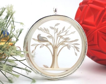 Tiny Silver Partridge in a Pear Tree Ornament - Glass and Lasercut paper - Christmas ornament - Twelve Days of Christmas ornament
