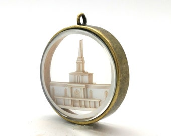 Orlando Temple Ornament - Church of Jesus Christ Christmas ornament - wedding -  missionary - baptism - Glass and Lasercut paper