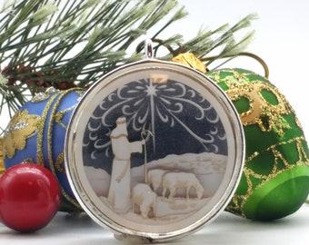 Tiny Silver Shepherd Ornament - Glass and Lasercut paper - Christmas ornament - Shepherd and Sheep Ornament - Nativity ornament