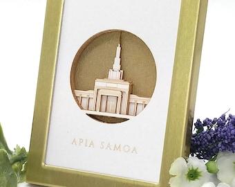Tiny Apia Samoa LDS Temple 2x3 laser cut desktop art - LDS christmas gift - LDS wedding - lds missionary - lds baptism