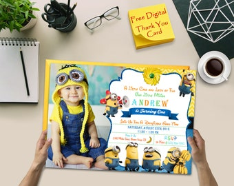 Minions, Minions Invitation, Minions Party Invitation, Minions Birthday Invitation, Thank You Card, Digital File Download, Minions Party