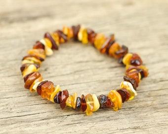 Colourful natural Baltic amber bracelet | Unisex bracelet | Healing amber power bracelet |