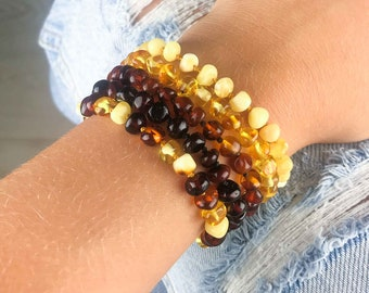 Colourful natural Baltic amber bracelets | Custom bracelets for kids and adults | Healing amber bracelets | Handmade amber bracelets |