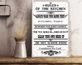 Kitchen wall decor housewarming gift dining room cooking quote art subway Kitchen rules metal tin signs Custom family sign rustic country