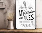 My kitchen Rules kitchen metal tin signs custom family sign rustic country kitchen wall decor housewarming gift dining room cookin