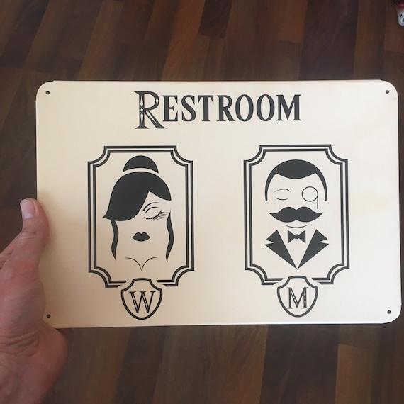 Toilettes Rétro Vintage signe shabby chic Cafe Bar Femmes Salle De Repos plaque métal