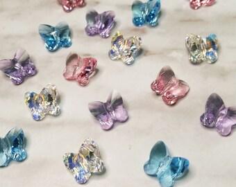 6615b79ac8 10mm 5754 Swarovski Crystal Butterfly Beads - 6 Pieces - Aquamarine -  Crystal AB - Light Rose - Violet