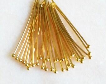 100 pcs Gold plated Head Pins  3cm x 0.5mm