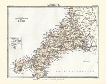 Cornwall Map Etsy