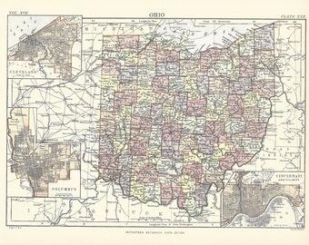 Antique Ohio Map.Antique Ohio Map Etsy