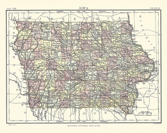 Old Iowa Map.Old Iowa Map Etsy