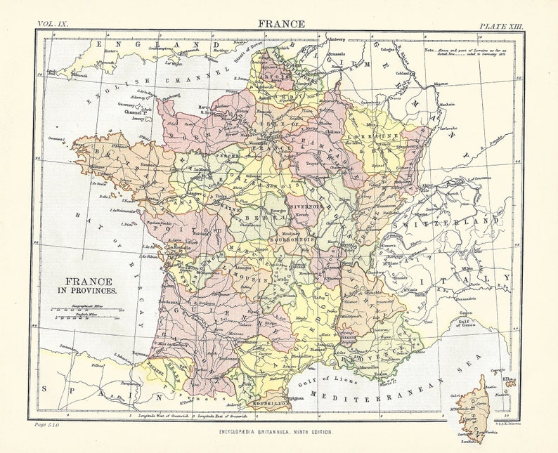 Map Of France Provinces.Antique Map France In Provinces Europe From 9th Edition Etsy