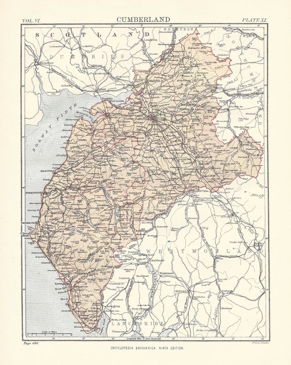 original rare 19th Century print Victorian map Gift Antique Map LINCOLN ENGLAND from 9th Edition Encyclopaedia Britannica 1875-1889