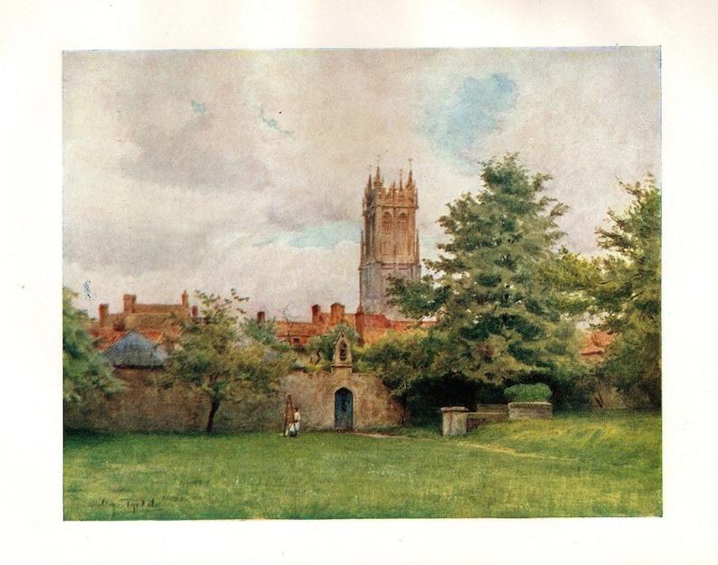 1936 Original Vintage Print \u2013 St John/'s Tower from The Abbey Gardens Glastonbury England \u2013 Somerset watercolour Unique Gift