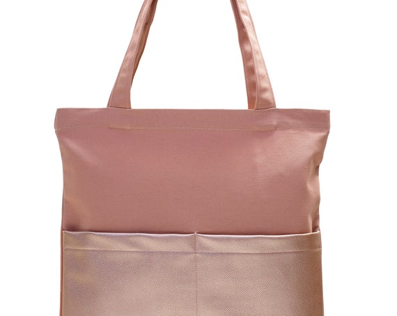 LEONs sturdy beautiful tote bag bucket bag fabric bag shopper tote bag cotton vegan faux leather inner pockets outer pockets pink