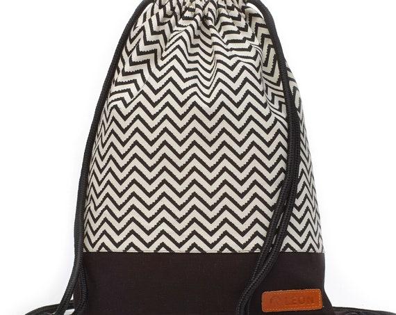 LEON by Bers Women's Bag Men's Gym Bag Backpack Sports Bag Cotton gym bag Width ca.34 cm Height ca.45 cm, Design black and white ZikZak