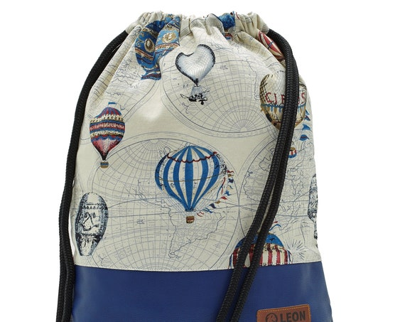 LEON by Bers bag men's gym bag backpack sports bag cotton gym bag width approx.34 cm height approx.45 cm, montgolfiere, bondage balloon