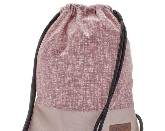 LEON by Bers Bag Women's Gym Bag Backpack Sports bag made of cotton gym bag Width approx.34 cm Height approx.45 cm, Design Pink Hatched