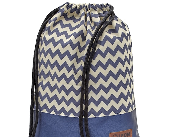 LEON by Bers Bag Gym Bag Backpack Sports Bag Cotton gym bag Width approx.34 cm Height approx.45 cm , Design BlueWhite ZikZak