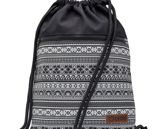 LEON by Bers Bag Gym Bag Backpack Sports Bag Cotton gymbag 34 cm x 45 cm Black and White Flowers Pattern, Star&wave Gay Bottom