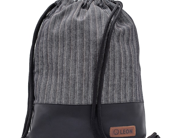 LEON by Bers bag gym bag backpack sports bag cotton gym bag width approx.34 cm height approx.45 cm, line pattern grey - black bottom