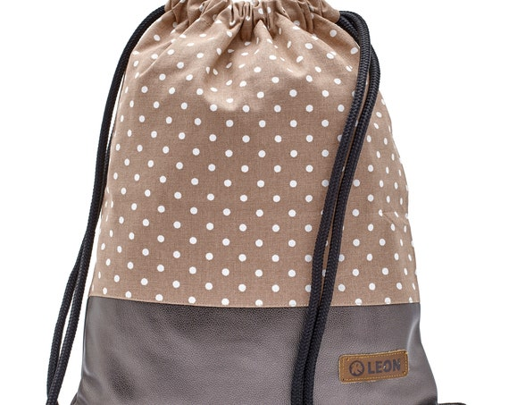 LEON by Bers bag women's gym bag backpack sports bag cotton gymbag width 34 cm height approx.45 cm, beige dots on brown, copper bottom