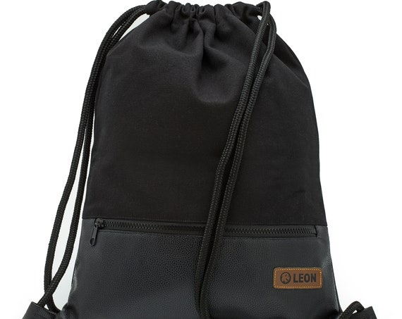 LEON by Bers Bag Gym Bag Backpack Sports Bag Cotton gymbag approx.34 cm x approx.45 cm Zippered pocket, Canvas Black PU Bottom
