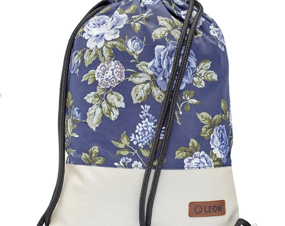 LEON by Bers bag women's gym bag backpack sports bag made of cotton gymbag, approx.34 cm x approx.45 cm, roseblue beige, bottom elven leg metallic